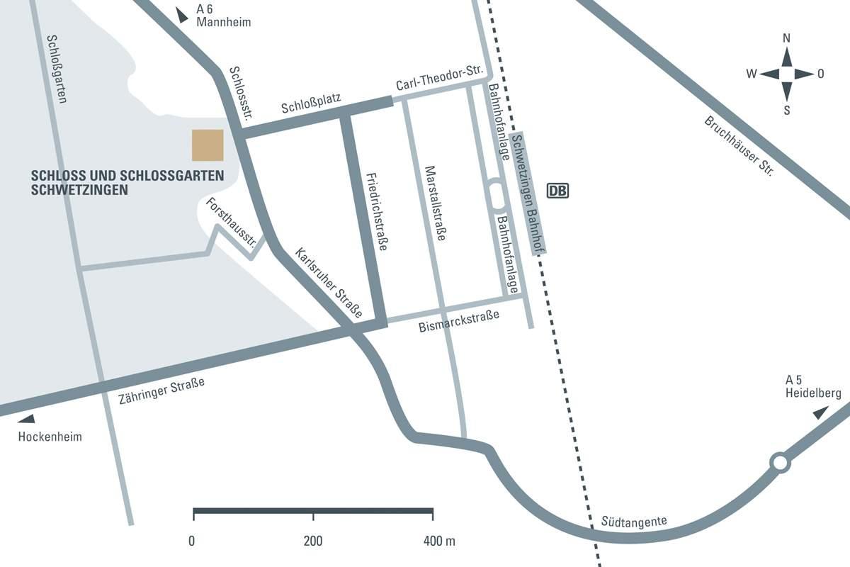 Anfahrtsskizze zum Schloss Schwetzingen; Entwurf: Staatliche Schlösser und Gärten Baden-Württemberg, JUNG:Kommunikation