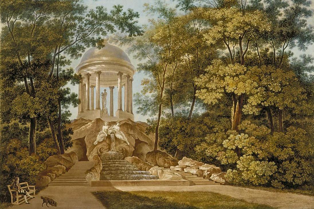 Apollotempel im Schwetzinger Schlossgarten, Aquatinta, mehrfarbig koloriert, von Carl Kuntz, 1796