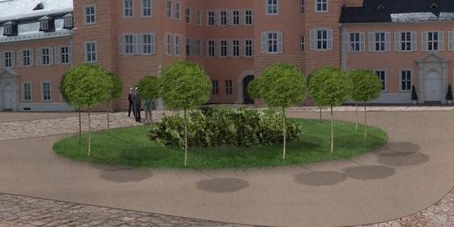 Geplante Umgestaltung des Ehrenhofs des Schwetzinger Schlosses; Foto: Staatliche Schlösser und Gärten Baden-Württemberg, Thorsten Kögel