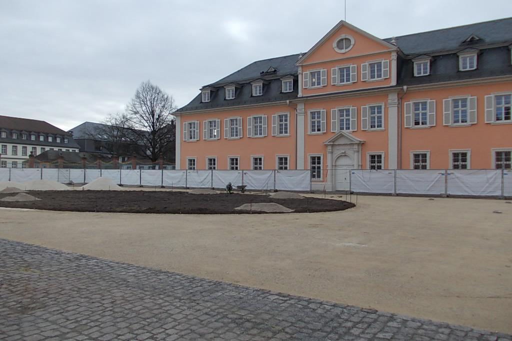 Ehrenhof des Schwetzinger Schlosses am 2. März 2015; Foto: Staatliche Schlösser und Gärten Baden-Württemberg, Thorsten Kögel