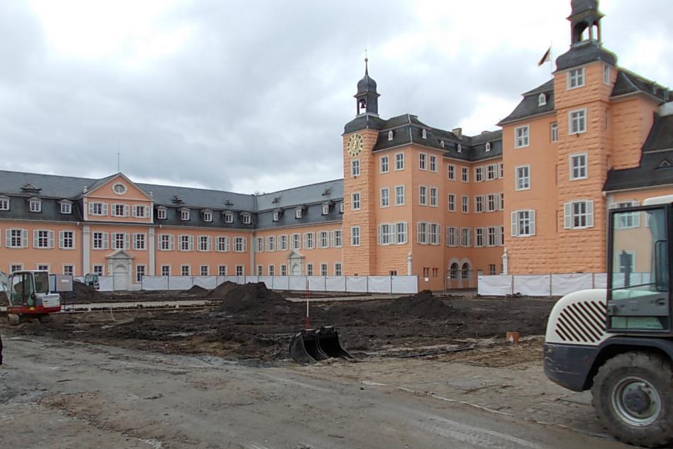 Ehrenhof des Schwetzinger Schlosses am 3. Februar 2015; Foto: Staatliche Schlösser und Gärten Baden-Württemberg, Thorsten Kögel