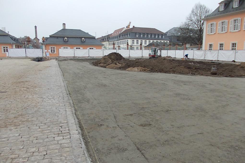 Ehrenhof des Schwetzinger Schlosses am 18. Februar 2015; Foto: Staatliche Schlösser und Gärten Baden-Württemberg, Thorsten Kögel