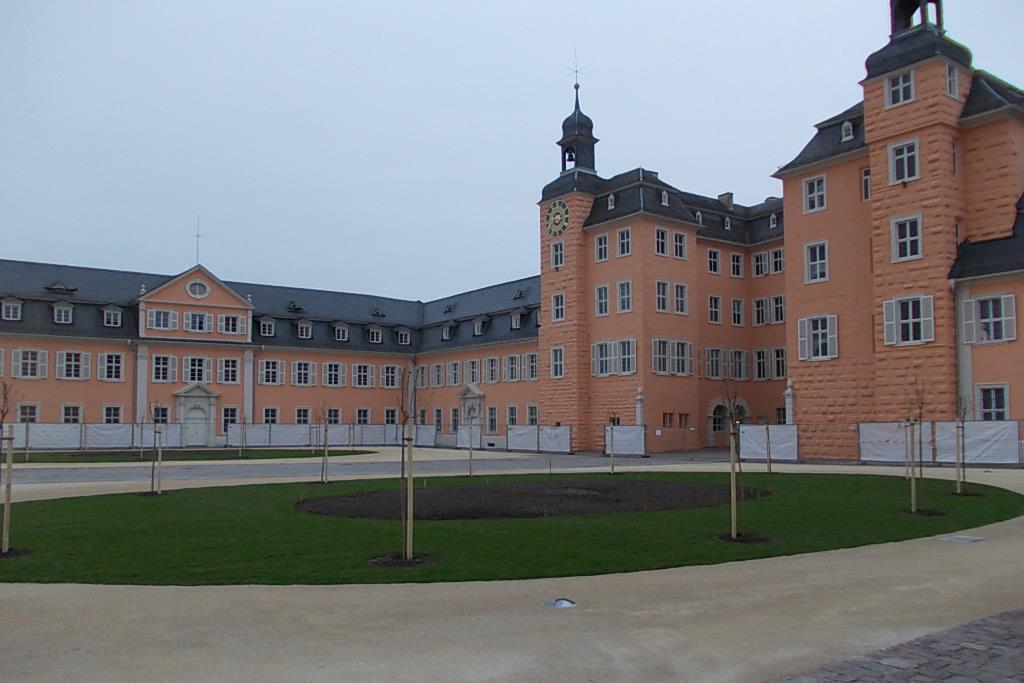 Ehrenhof des Schwetzinger Schlosses am 26. März 2015; Foto: Staatliche Schlösser und Gärten Baden-Württemberg, Thorsten Kögel