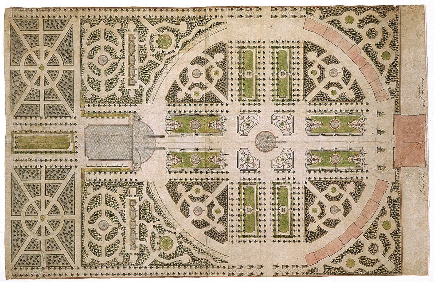 Historische Ansicht des Gartenplans; Foto: Staatliche Schlösser und Gärten Baden-Württemberg, Arnim Weischer