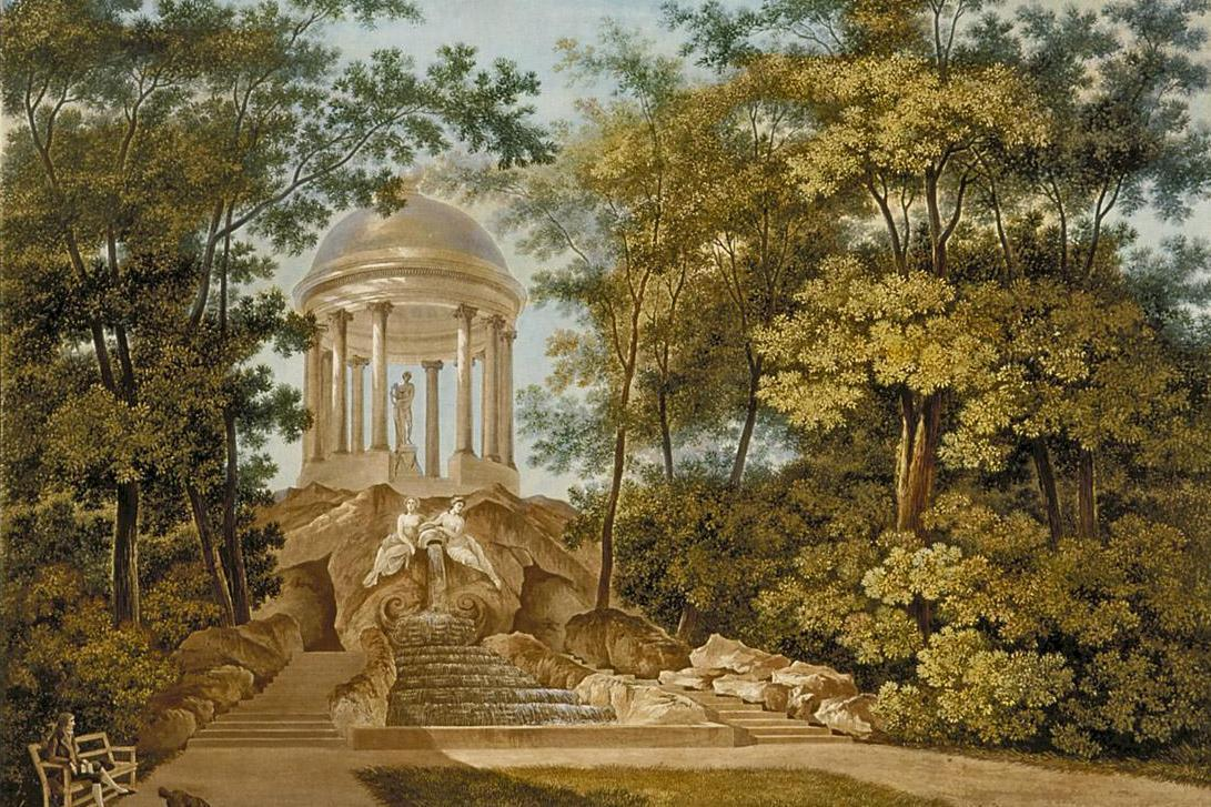 Apollotempel im Schlossgarten Schwetzingen, Aquatinta, mehrfarbig koloriert, Carl Kuntz, 1796