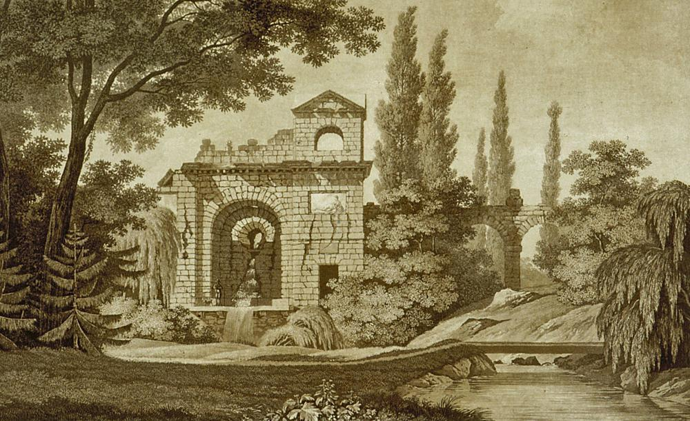 Aquädukt und röm. Wasserkastell, Radierung von Carl Kuntz