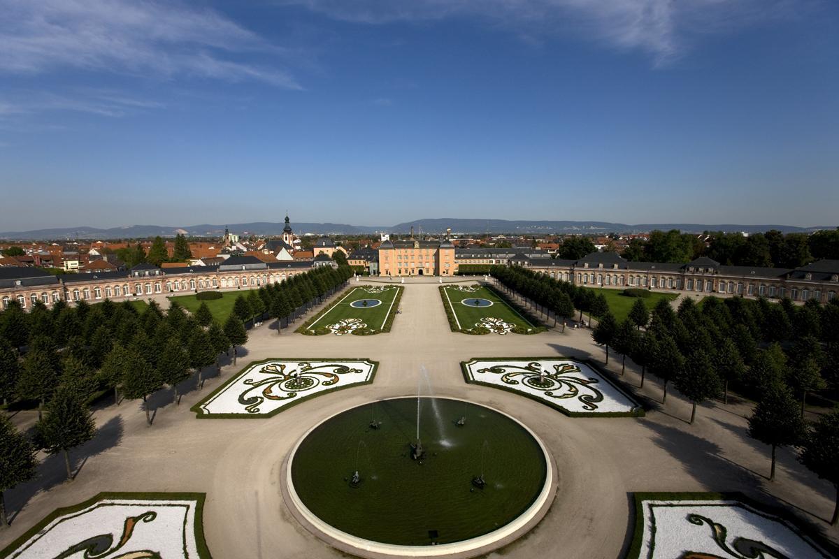 Schloss und Schlossgarten Schwetzingen aus der Luft; Foto: Staatliche Schlösser und Gärten Baden-Württemberg, Achim Mende