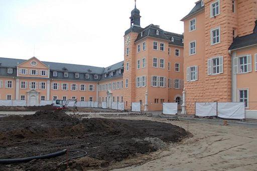Ehrenhof des Schwetzinger Schlosses am 11. Februar 2015; Foto: Staatliche Schlösser und Gärten Baden-Württemberg, Thorsten Kögel