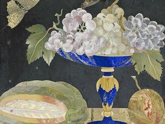 Exotische Früchte, Pietra-Dura-Tafel im Florentiner Kabinett, Schloss Favorite Rastatt