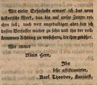 Grußformel Carl Theodors aus der Korrespondenz mit Voltaire, 1754