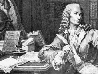 Schloss und Schlossgarten Schwetzingen, Voltaire bei der Arbeit, Stich von P. Baquoy nach einem Gemälde von Monsiau