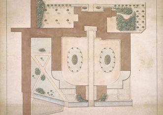 Plan des Ehrenhofs von Zeyher, 1834/35; Foto: Staatliche Schlösser und Gärten Baden-Württemberg, Urheber unbekannt