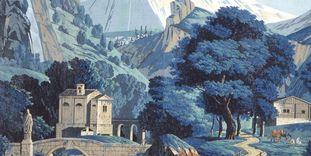 Schloss Schwetzingen, Schweizer Zimmer, Detail Panoramatapete, P. A. Mongin 1804