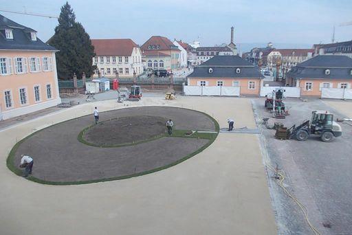 Ehrenhof des Schwetzinger Schlosses am 17. März 2015; Foto: Staatliche Schlösser und Gärten Baden-Württemberg, Thorsten Kögel