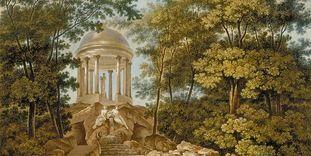 Apollotempel im Schlossgarten Schwetzingen, Aquatinta, mehrfarbig coloriert, Carl Kuntz, 1796